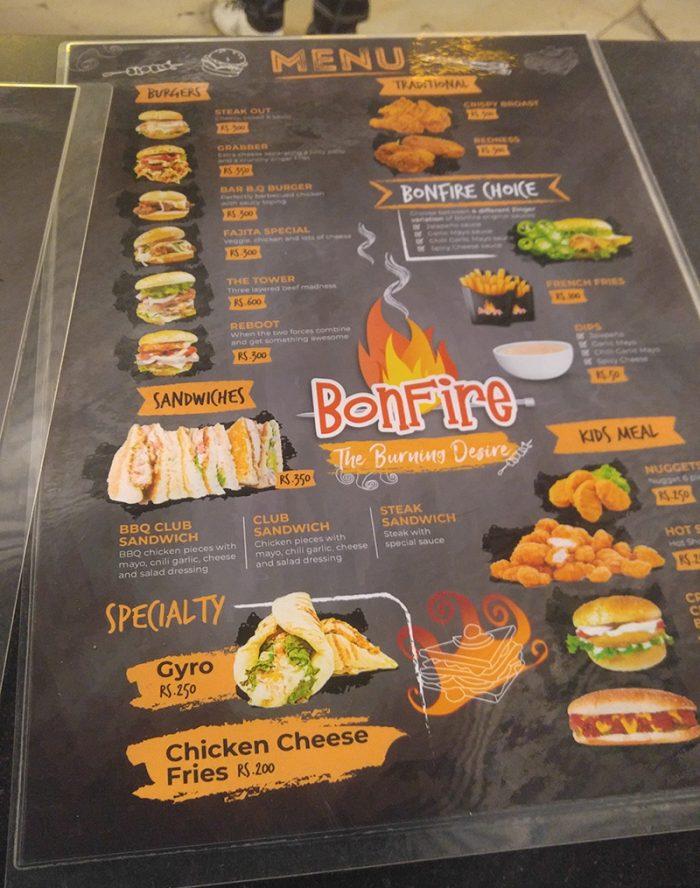Menu design Bonfire restaurant Saima mall karachi Pakistan by Inoace choudry arif saeed