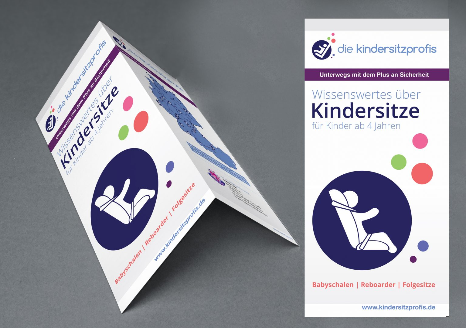 print brochure flyer design by Arif inoace design studio for child seat professionals die kindersitzprofis branding collateral