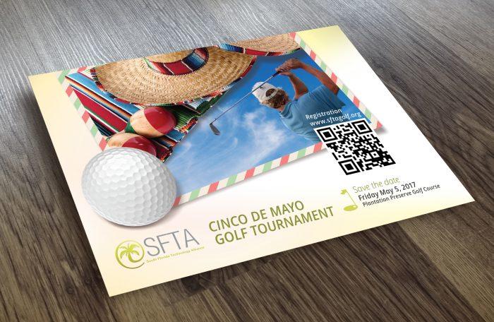 post card design for Cinco De Mayo Golf Tournament