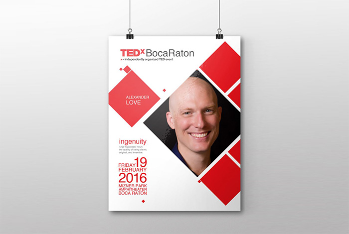 Poster TEDx Boca Raton by E2 Marketing and Inoace choudry arif saeed