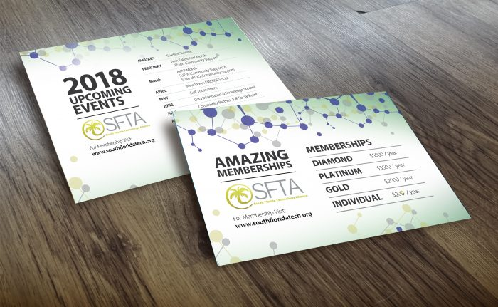 post card design for  SFTA Upcoming events - with E2 Marketing