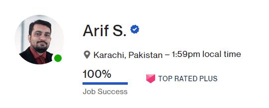 upwork top rated plus badge Arif Saeed designer